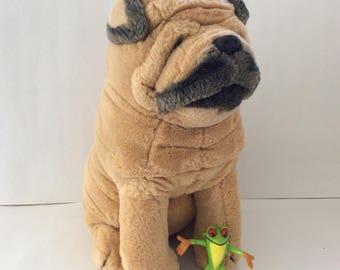 Shar Pei dog plush  - stuffed toy - Collectible Dog - Merry Christmas - Dankin Plush - 1987 - Dog  Decor - Nursery Decor