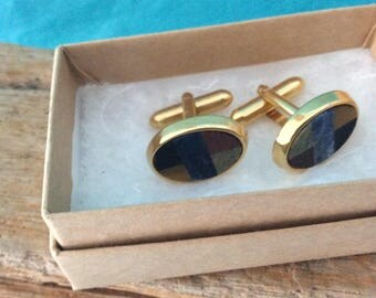 Inlay Stones Cufflinks - Gold - simple classic design - 70s - gift for him  Gentleman Style. - Men's Bling - Dad Gift - Vintage Cufflinks
