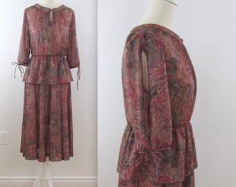 SALE Dusk Garden Peplum Dress - Vintage 1970s Dark Floral Circle Skirt Dress in Medium