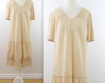 SALE April Cornell Embroidered Summer Dress - Vintage 1980s Beige Cotton Farmhouse Dress in Large xLarge