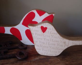 Wooden doublesided decoration Love Birds