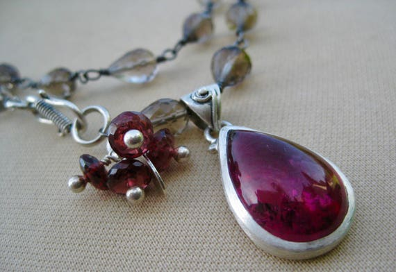 ANEETA    Smoky Quartz, Garnet Cluster with  Pink Tourmaline Teardrop Pendant Adjustable Necklace