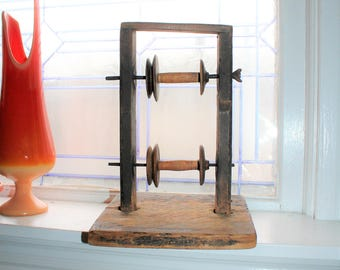 Antique Wooden Yarn Winder Laundry Sewing Room Decor