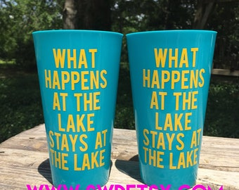 Personalized Party Cups / Bachelorette / Girls Weekend / Lake / Beach Please / Personalized Plastic Tumblers / Lake Hair Don't Care