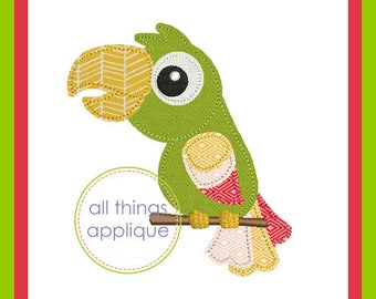 Parrot 2 Bean Stitch Applique Design (#968) - Machine Embroidery Applique Design - 4 Sizes - INSTANT DOWNLOAD