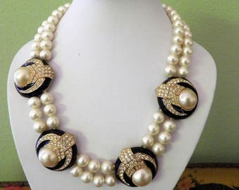 CINER Signed Couture Statement Necklace With the Look of Diamonds, Pearls, and Onyx.