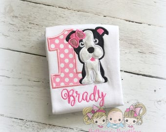Boston Terrier birthday shirt - puppy birthday shirt - 1st birthday puppy shirt - puppy themed birthday shirt for girls - personalized shirt