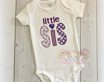 Purple little sister shirt - little sister outfit - personalized little sis shirt- purple fabrics - embroidered little sister shirt