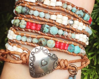 Southwestern Turquoise and Coral Beaded Leather Wrap Bracelet with sterling silver and charms 5x, Native American bracelet,