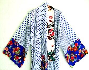 Cotton Kimono Style Robe  Blue White Elegant Long Flowers Black Geometric Rozes Pink