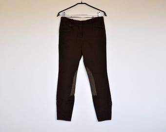 Vintage Brown Equestrian Style Riding Pants Suede Knee Patch Breeches