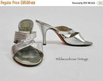 SUMMER SALE 1950's Perri's by Carmine Springolators Silver Stiletto Heels - Classic Vintage Pumps - Open Toe Slides - Ladies Size 7