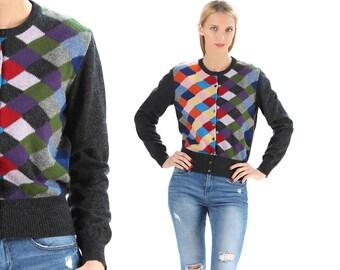 RAINBOW Cardigan Sweater 80s Bohemian Black Wool Knit Color Block Patchwork Grandma Hipster Vintage Retro United Colors Of Benetton Medium