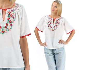 Mexican Top Embroidered Blouse 70s White Hippie Boho Shirt FESTIVAL Cotton Tunic Peasant Bohemian Red Floral Vintage Ethnic Loose Large