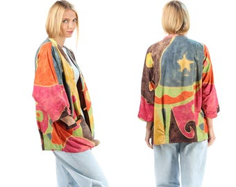Boho Pajama Jacket 80s Festival Star Night Print Grunge Bold Colorful Abstract Button Up 1980s Bohemian Vintage Yellow Red Brown sz XXL