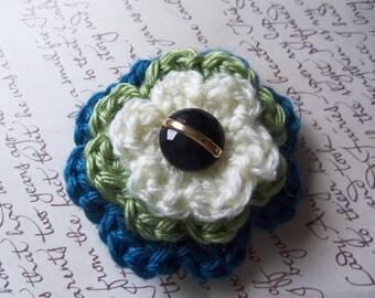 Small Crochet Flower Brooch. Layered Flower Brooch or Pin. Handmade Brooch.