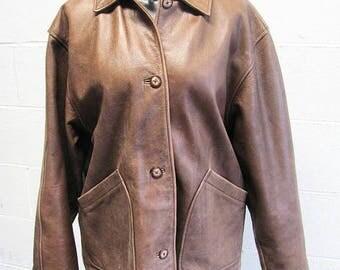 1990s Vintage Leather Jacket / Brandon Thomas Leather Jacket / Brown Leather Jacket / 90s Leather Jacket / Size Medium