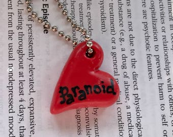 pARANoID Red Heart Polymer Clay Conversation Heart Charm Keychain Psychology Disorder Mental Health Valentine Gift Ooak Crazy