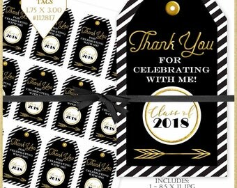 Graduation Tags, Black and Gold Printable Tags, Graduation Thank You Tags, Black and White Tags, Thank You Tags, Party Favor Tags, #112817