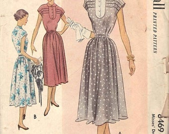 50% OFF 1951 Vintage McCall Misses Dress Sewing Pattern No. 8469, Size 14, Bust 32