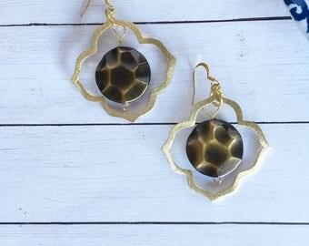 Bronze earrings, Bronze dangle earrings, hoop earrings dangle earrings