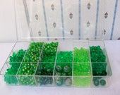 New 13 oz GREEN BEAD LOT in Case Starflake Berry Round Tri Lime Peridot Aurora Borealis Jewelry Craft