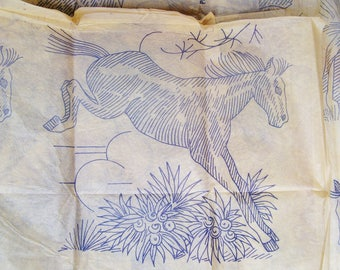 Vintage HORSE HOT TRANSFERS Block Quilt Mustang Cactus Western 1980's 2 Sheets Multi Stamp