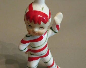 Sweet vintage Lefton elf/pixie christmas figurine with candy cane