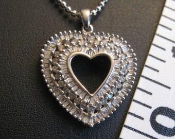10K White Gold Heart Pendant With Genuine Diamonds, Shipped Free