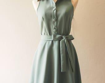 DOWNTOWN Sage Green Dress Shirt Dress Working Casual Dress Bridesmaid Dress Vintage Inspired La La Land Style Fashion Dress no#198