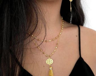 Gold Tassel Boho Necklace
