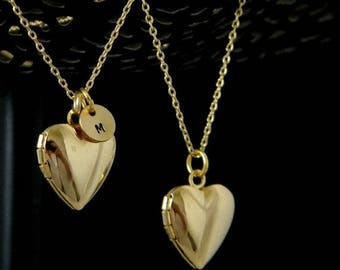 Gold Initial Heart Locket Necklace