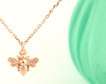 Rose Gold Bumble Bee Initial Necklace