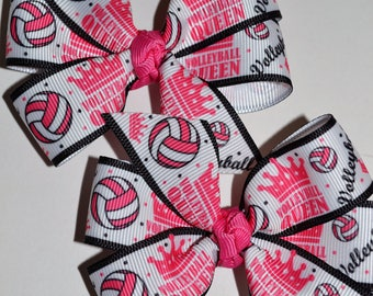 Set of Two Volleyball Hair Bows Sports School Spirit Volleyball Queen