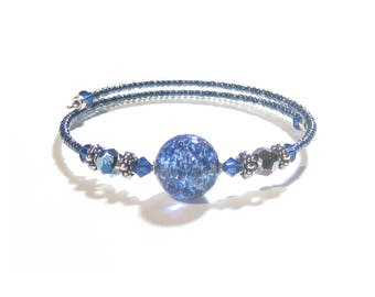 Murano Glass Navy Blue Bangle Bracelet, Venetian Jewelry, Italian Jewelry, Lampwork Glass Bracelet, Venetian Jewelry, Italian Jewelry