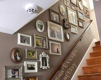 Gallery Wall Set - 10 PICTURE FRAMES - neutral - gold brown cream - Rustic Romantic Colors - shabby chic - Vintage Style - Glass & Back