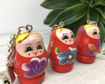 Red russian doll keychain, kitsch gift, novelty keyring, stocking stuffer gift, stocking filler, Matryoshka doll, babushka dolls, for her