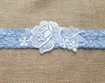 Wedding garter, mid blue lace garter, bridal garter, something blue