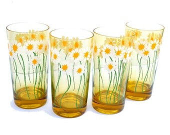 Vintage Daisy Glass Set, Amber Drinking Glasses, Retro Tumblers, Set of 4, Long Stem Daisy Glassware, 12 oz Tumbler Set, Water Glasses