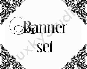 Shop Banner Set shop icon,cover/banner,avatar/profile picture -black and white,art nouveau,lace,jewelry,clothing