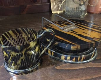 Antique Celluloid Folding Shaving Mirror and Matching Mug Faux Tortoise Shell Octagon