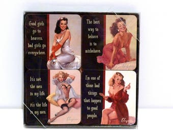 Elvgren Pin Up Coaster Set of 4 Vintage Gil Elvgren Image Cute Attitude Slogans in package Exotic Burlesque Calendar Girls Women Glamour