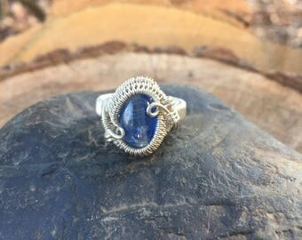 On Sale Wire Wrapped Ring - Size 7 Ring - Blue Kyanite Ring - Wire Wrap Ring - Kyanite Ring - Wire Wrapped Jewelry - Gemstone Ring