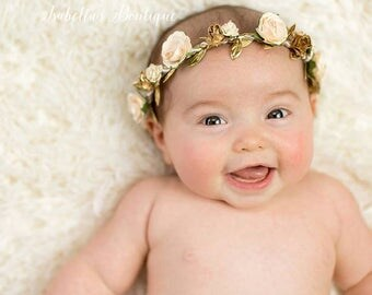 Cream and Gold Floral Crown - Bridal Crown Baptism Floral Halo Floral Boho Headband Newborn Photo Prop Shabby Chic