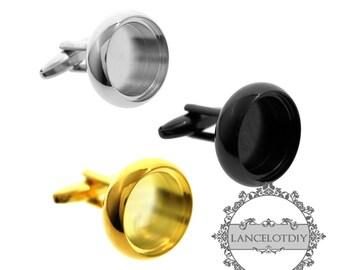 10pcs 16mm round bezel 5mm depth gun black,silver,gold floating cufflinks tray 1500150