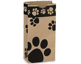 25   Flat Bottom Paper Bags,  Paw Print  Merchandise Bags,  Lunch Bags - 4.25 x 2.375 x 8.18 Inches - Gifts, Packaging, Retail