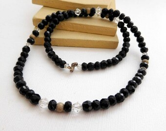 Retro Vintage Jet Black Glass Silver Clear Bead Sterling Clasp Necklace TT44