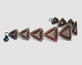 Triangle bracelet Geometric peyote beading Seed bead beadwoven jewelry Beaded brown bracelet