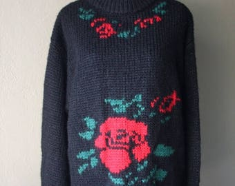 Clearance Sale Vintage Oversized Rose Print Knit Sweater