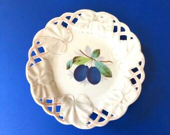 Pretty Little Antique Porcelain Plate Hand Painted with Plum Design